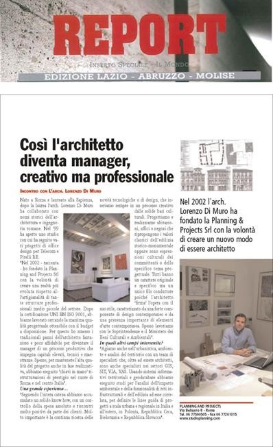 "Edition about middle Italy architect and engineering ""REPORT"" - 2010 - STUDIOPLANNING"